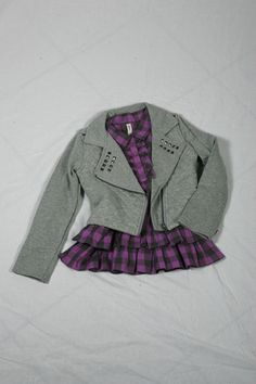 Grey sweater jacket with studs - $39.95 @ Children's Place // Purple checkered ruffled woven tunic $16.99 @ Sears