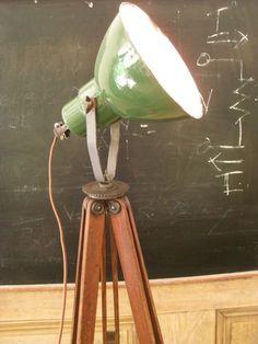 Vintage Repurposed Green Porcelain Spot Light Survey Tripod Loft Lamp Steampunk: