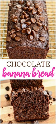 This Chocolate Banana Bread is made with cocoa powder, bananas and chocolate chips, so it is loaded with chocolate flavor! It makes three mini loaves, so you can freeze some for later, or share with friends. #chocolatebananabread #bananabread #bread #breadrecipes #quickbread #chocolate