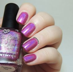Too Fancy Lacquer - Positively Pink [Swatch] - nails - holographic nail polish