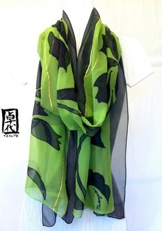 Green Silk Shawl Hand painted Japanese Silk by SilkScarvesTakuyo, $295.00