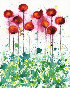 Watercolour spatter  Poppies -- Giclee Print 8x10