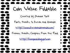 Coin Value Foldable Freebie