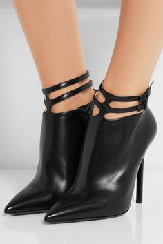 Heel measures approximately 110mm/ 4.5 inches Black leather Zip fastening along side, buckle-fastening ankle straps Made in Italy