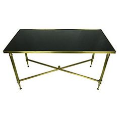 French Maison Jansen Coffee Table With Original Black Opaline Glass Top