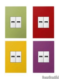 These Outlets Are In: There are three basic models: USB-ready (shown), tamper-resistant, and a standard plug that pushes into the wall, out of sight, when not in use. Plate finishes range from French oak to brushed metals in colors such as Lichen Green, Plum, Honey, and Cherry, and materials can be customized.