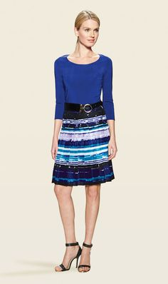 IDEAL violet sweater, with NILE violet, white, turquoise, and green skirt and DYNAMIC black belt | Carlisle Spring 2014 Collection