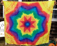 Silk Rainbow Flower Tie Dye Tapestry by LucysTieDyes on Etsy, $30.00