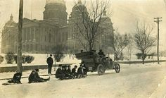 Snow day fun on the Court Ave hill SW of the Sate Capitol. Photo could date from the 1920's to early 1930's.