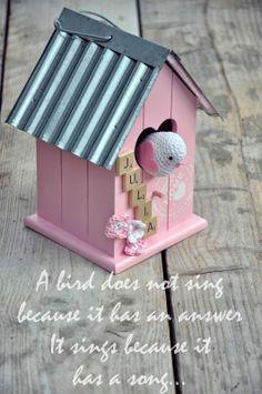 Birthgift...crocheted bird in  birdhouse,with link to free bird pattern