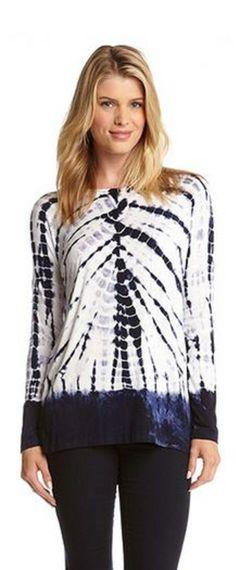 AWESOME Tie Dye  Side Slit Tunic #Karen_Kane #Tie_Dye #Fashion