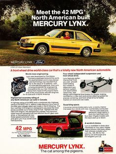 My first Car & mine was even this shade of yellow... But an '82. - 1981 Mercury Lynx Hatchback & Wagon Ad (Canada) by aldenjewell, via Flickr