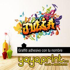 Grafiti de tu nombre en vinilo adhesivio, cualquier nombre, colores o tamaño. Decoracion habitación infantil juvenil. #graffiti #decor #yayaprint Http://yayaprint.com/vinilos