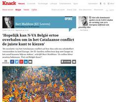"""Guifré Jordan @enGuifre– El professor de la universitat flamenca de Lovaina Bart Maddens ha instat el govern de Bèlgica a donar suport al procés català quan arribi el moment clímax del referèndum. En un article a la revista Knack, el també politòleg diu que """"l'escalada del conflicte català d'alguna manera causarà un xoc a Europa i els països de la UE no podran amagar més el cap sota l'ala"""". És per això que, segons ell, Bèlgica s'haurà de definir. En aquest sentit, diu que """"el govern belga…"""