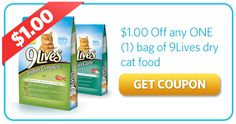 Save $1.00 Off a Bag of 9Lives Dry Cat Food