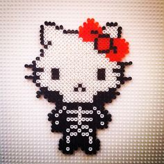Skeleton Hello Kitty hama beads by hadavedre