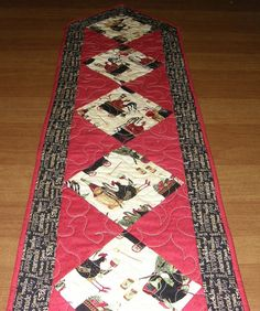 Chicken Whimsical Quilted Table Runner Red Black by HollysHutch