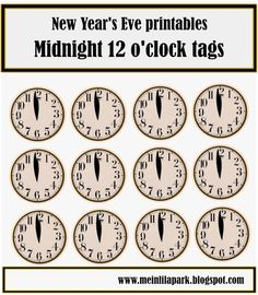 free printable New Years Eve table decoration – 2013 mini bunting, good luck charms, clock and star snack toppers – Silvester Deko-Vorlagen | MeinLilaPark – digital freebies