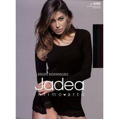 #Jadea Maglia Donna in cotone elasticizzato Manica lunga Scollo Lollo con pizzo sul fondo manica e sul fondo maglia www.intimo6.it
