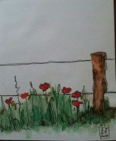 Watercolour and pen - Aquarell / Wasserfarben / Water Colours - Watercolor Pen And Watercolor, Watercolor Landscape, Watercolor Flowers, Watercolor Ideas, Plant Drawing, Painting & Drawing, Art Paintings, Watercolor Paintings, Watercolours