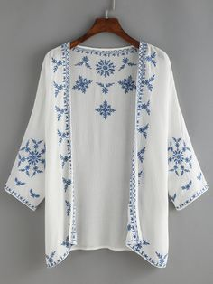 White Embroidered Top.