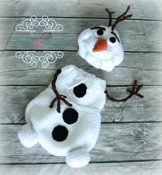 Вязаный снеговик Олаф кокон для фотосессии младенца