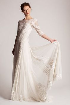 The sweet lace sleeves and artful filigree panels on this Temperley London dress exude vacation vibes all the way. This intricate beauty would feel right at home at a coastal destination affair. We're thinking Bali, Tulum, or the French Riviera... #refinery29 http://www.refinery29.com/best-beach-wedding-dresses#slide-11