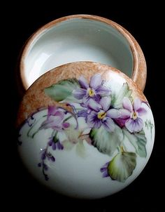 Hand Painted Porcelain Ring Trinket Jewelry Gift Box  - Features a Violets Design - Can be personalized Inside