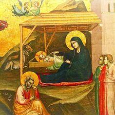Nobiscum Deus scitote gentes & admiramini.  Dieu est avec nous sachez-le nations & soyez dans l'admiration.  Nativité c. 1325 de Taddeo Gaddi. Florence XIVème s.