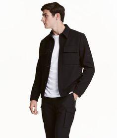 Skjortejakke i uldblanding | Sort | Herre | H&M DK