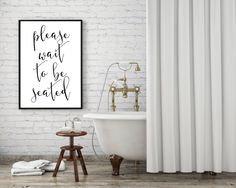 please wait to be seated print bathroom rules bathroom decor black and white bathroom