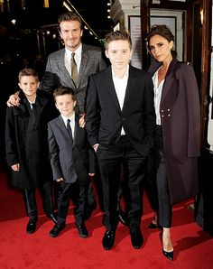 David Beckham with his wife and boys