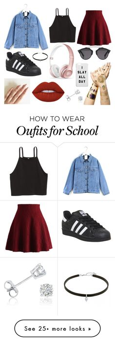 """School Day"" by susanna-trad on Polyvore featuring Quintess, Chicwish, adidas, Christian Dior, Tattify, Beats by Dr. Dre, Lime Crime and Amanda Rose Collection"