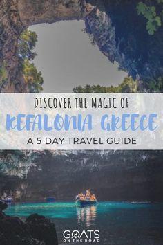 Kefalonia Island, Greece: Our 5 Day Travel Guide - Travel Trends Europe Travel Guide, Travel Destinations, Travel List, Greece With Kids, Myrtos Beach, Greece Islands, Greece Travel, Trip Planning, Adventure Travel