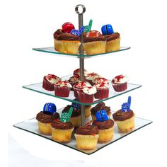 Glass Dessert Stand Three Tier Cupcake Muffin Tray Display Tree Birthday Wedding Shower Baby Party Decorations Baker's Counter Holder Supply by TickleMyToesBoutique on Etsy