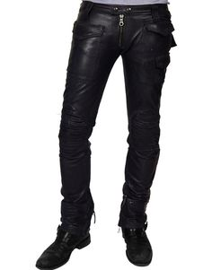 New Men Slim Fit Soft Lambskin Black Leather Pant Size 28 30 32 34 36 38 Mens Leather Pants, Motorcycle Leather, Look Rock, Rocker Look, Biker Pants, Diy Vetement, Slim Fit Pants, Lambskin Leather, Leather Fashion