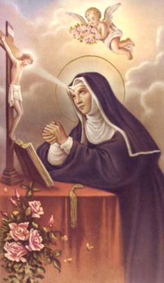 Playing with the Saints! Incorruptible Saints, Sta Rita, Sainte Rita, St Rita Of Cascia, Vintage Holy Cards, Santa Teresa, Religious Images, Roman Catholic, Disney Characters