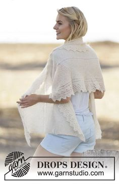 """Knitted DROPS shawl with eyelet edge in """"Brushed Alpaca Silk"""". ~ DROPS Design"""