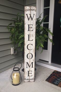 Welcome Sign Painted on Reclaimed Pallet Wood by SignsfromthePines on Etsy https://www.etsy.com/listing/247342108/welcome-sign-painted-on-reclaimed-pallet