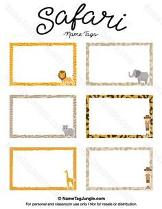 name tag template free Free printable safari name tags. The template can also be used for . Printable Name Tags, Printable Labels, Name Tag Templates, Templates Printable Free, Cubby Name Tags, Zoo Animals Names, Classroom Name Tags, Safari Party Decorations, Spongebob Birthday Party