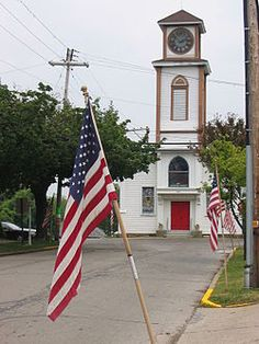 Main Street lined with our beautiful US flags, Saxonburg Memorial Presbyterian Church, Saxonburg, Pennsylvania