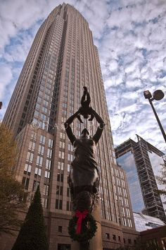 Striking statue in front of the BOA tower in Uptown Charlotte, N.C. Pinned by Spark Strategic Ideas www.sparksi.com