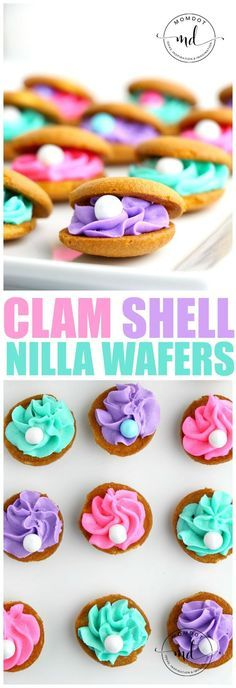 Clam Shell Cookies Made with Nilla Wafers, perfect for a mermaid party plus QUICK, EASY and ADORABLE! Clam Shell Cookies are a delicious and quick way to create the perfect dessert for an under the sea or mermaid party. Buttercream frosting and pearls! Mermaid Party Food, Mermaid Theme Birthday, Little Mermaid Parties, Mermaid Diy, The Little Mermaid, Little Mermaid Cupcakes, Baby Mermaid, Princess Birthday, Unicorn Birthday
