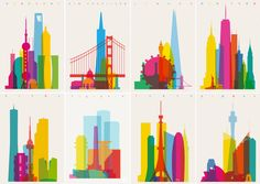 London-based designer Yoni Alter has a huge line of colorful prints featuring overlaid silhouettes (to scale) of every major landmark....