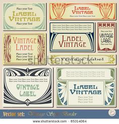 vintage style labels on different topics for decoration and design by bomg, via Shutterstock