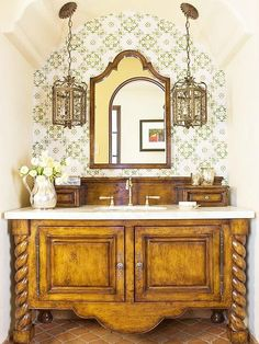A Traditional Bathroom with Pendant Lights