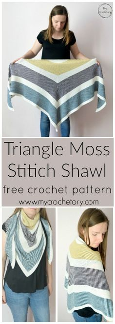 Triangle Moss Stitich Shawl - free crochet pattern for the moss stitich lovers by www.mycrochetory.com