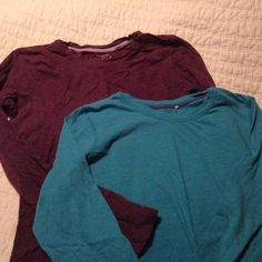 Flash SALE! Bundle- long sleeved tees Blue and purple long sleeve fitted tees. Junior sized fit- fit is smaller Tops Tees - Long Sleeve