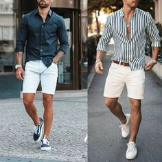 I shared a dozen interesting tips that will teach you how to make simple clothes look fashionable on you. No need to break the bank for new clothes. Smart Casual Outfit, Casual Wear For Men, Summer Outfits Men, Stylish Mens Outfits, Beach Outfits, Mens Summer Shorts, Mens Cruise Outfits, Outfit Strand, Sneakers Mode