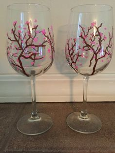 Hand Painted Cherry Blossom Wine Glasses  by ManchesterCreations